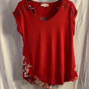 Red, floral tee shirt